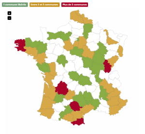 Carte de France des communes qui refusent le compteur Linky