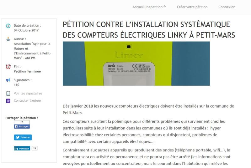 signer la pétition contre le linky